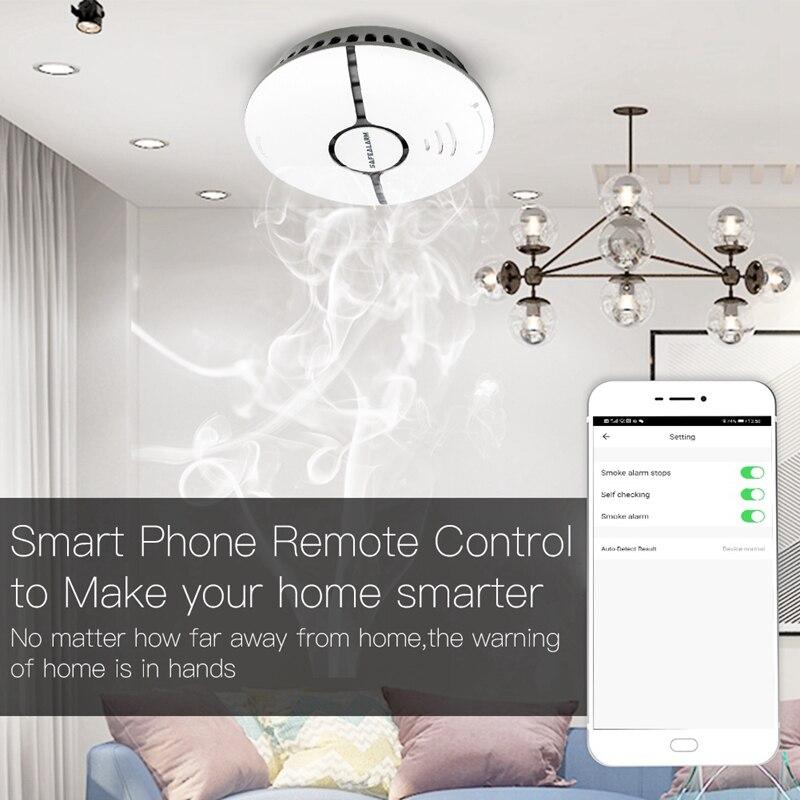 AAY-WiFi Smart Smoke Fire Gas Alarm Detector Home Security System Battery-Powered Alarm Wireless WIFI Smoke Sensor Contro