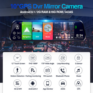 Image 2 - E ACE Android 4G GPS Navigators 10 Inch Car Dvr 1080P Video Recorder Rearview Mirror DVRs With WiFi Buletooth Android ADAS