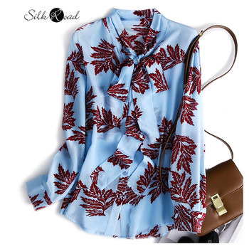 цена Silviye Ribbon silk shirt women's silk shirt long sleeve shirt with a versatile top blusas mujer de moda 2020 онлайн в 2017 году