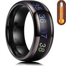 2021 novo sensor inteligente anel de temperatura do corpo de aço inoxidável moda exibição real-tempo de teste de temperatura anel de dedo