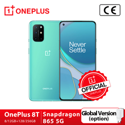 Global Rom OnePlus 8T 8 T OnePlus Official Store 8GB 128GB Snapdragon 865 5G Smartphone 6.55' 120Hz AMOLED Fluid Screen 48MP 65W