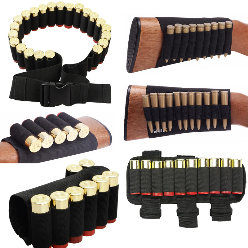 1000D Nylon Bullet Bag Outdoor Buttstock Hunting Ammo Pouch Tactical Military Airsoft Shell Holder Gun Accessories Cartridges