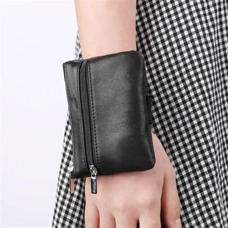 Women Small Coin Purse Change Purses For Women Genuine Leather Wrist Bag Sleeve Mini Zipper Pouch With Key Holder Sac Femme