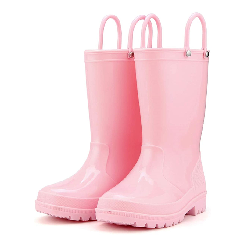 KushyShoo Kids Rain Boots 13 Colors Environmental <font><b>Material</b></font> Toddler Rain Boots with Easy-on Handles PVC Solid Children Rain <font><b>Shoes</b></font> image