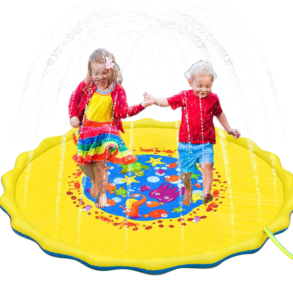 Children Summer Outdoor Inflatable Kids Water Splash Play Mat Garden Gaming Sprinklers Cushion Toys Fun Toys At Home