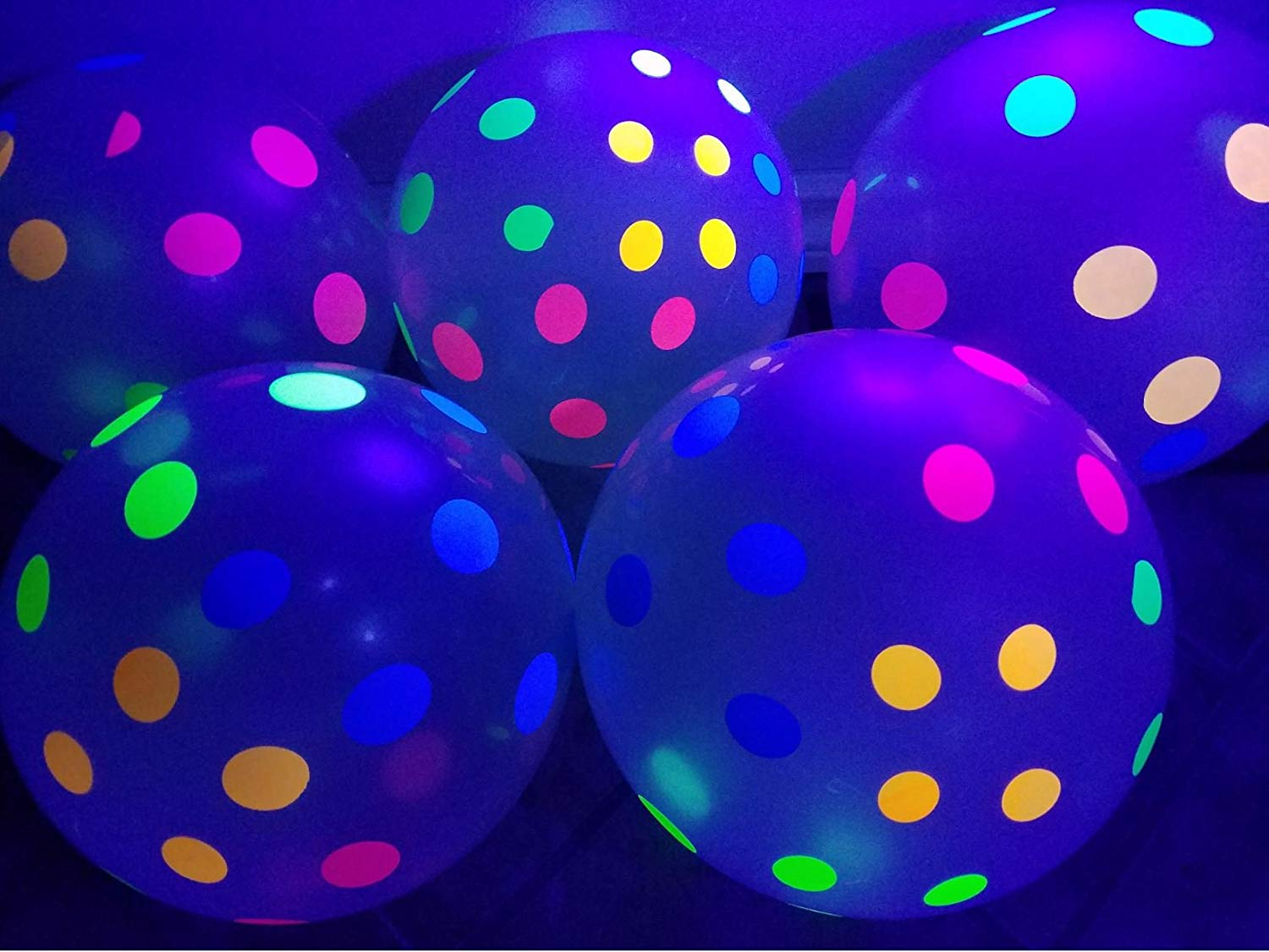 Metable 25pcs 10inch Neon Flourescent Latex Clear Balloons With Polka Dots That Glow In The Dark Under Blacklight Party