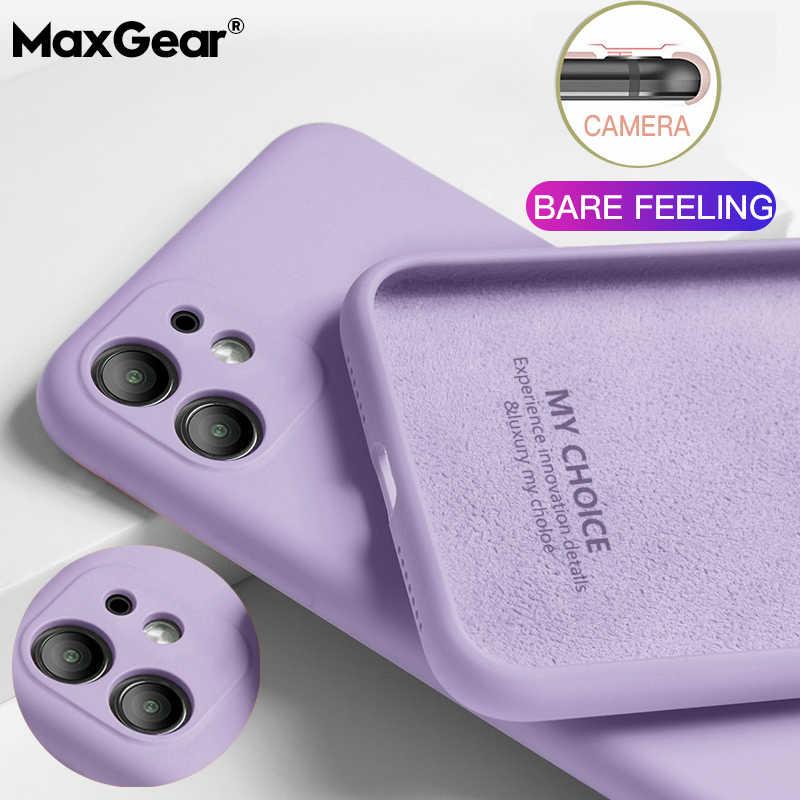 Luksusowy płynny silikonowy pokrowiec na iPhone 11 Pro Max SE 2 2020 XS Max XR X 10 7 8 5 6 6S Plus pokrowiec miękki cienki kolor obudowy Coque