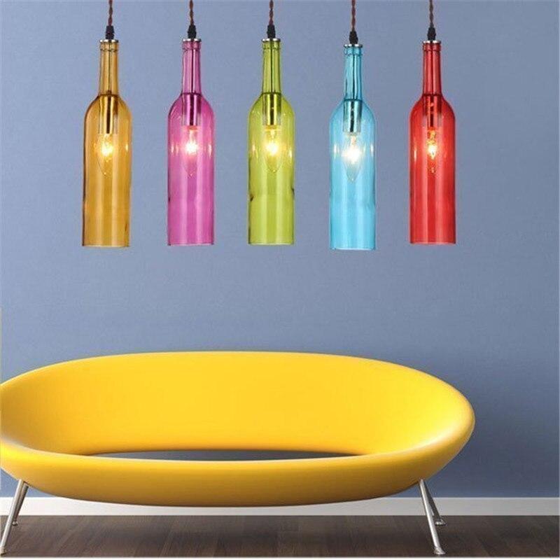 Nouveau Style vitrail pendentif lumières couleur vin verre Bar lumières dîner lampe livraison gratuite