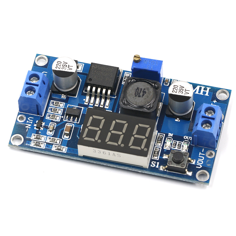 LM2596 Buck Step Down Power Converter Module LED Digital Voltmeter Display Adjustable Board DC-DC 2A Short Circuit Protection