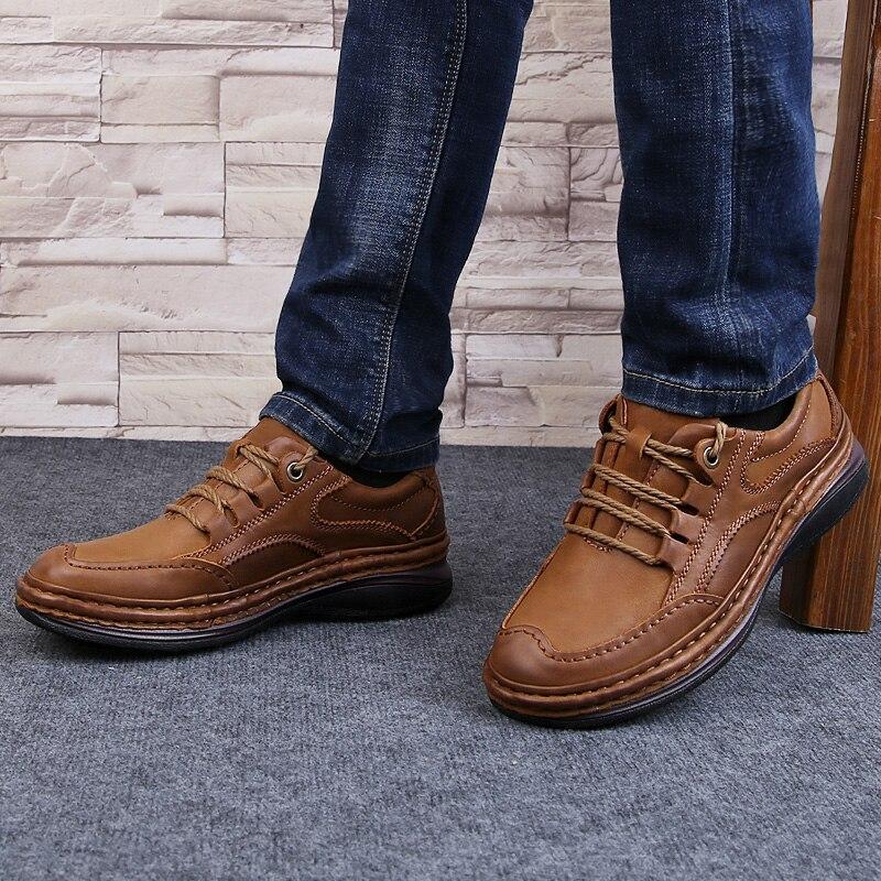 Мужская обувь из натуральной кожи; деловая официальная обувь; 100% дышащие кроссовки из воловьей кожи; обувь для горного туризма; Новинка 2019 года; кожаные кроссовки - 6