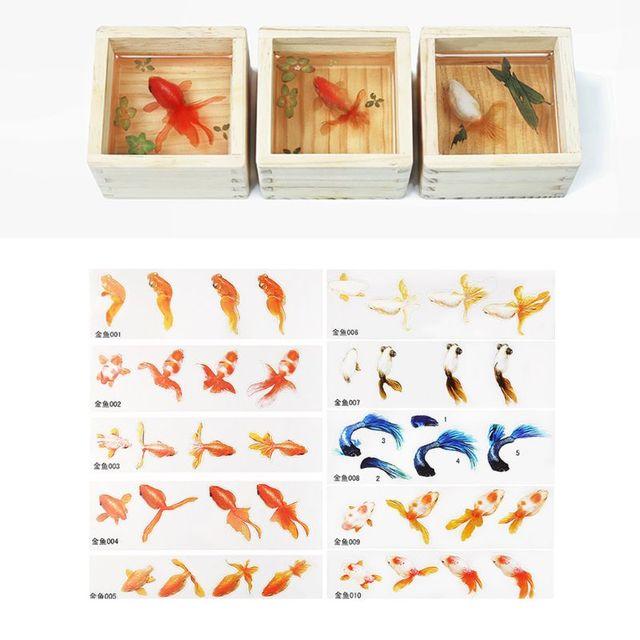 16 pièces/ensemble bricolage cristal époxy remplissage 3D résine peint poisson rouge feuille canard remplissage artisanat faisant matériel autocollant T4MD