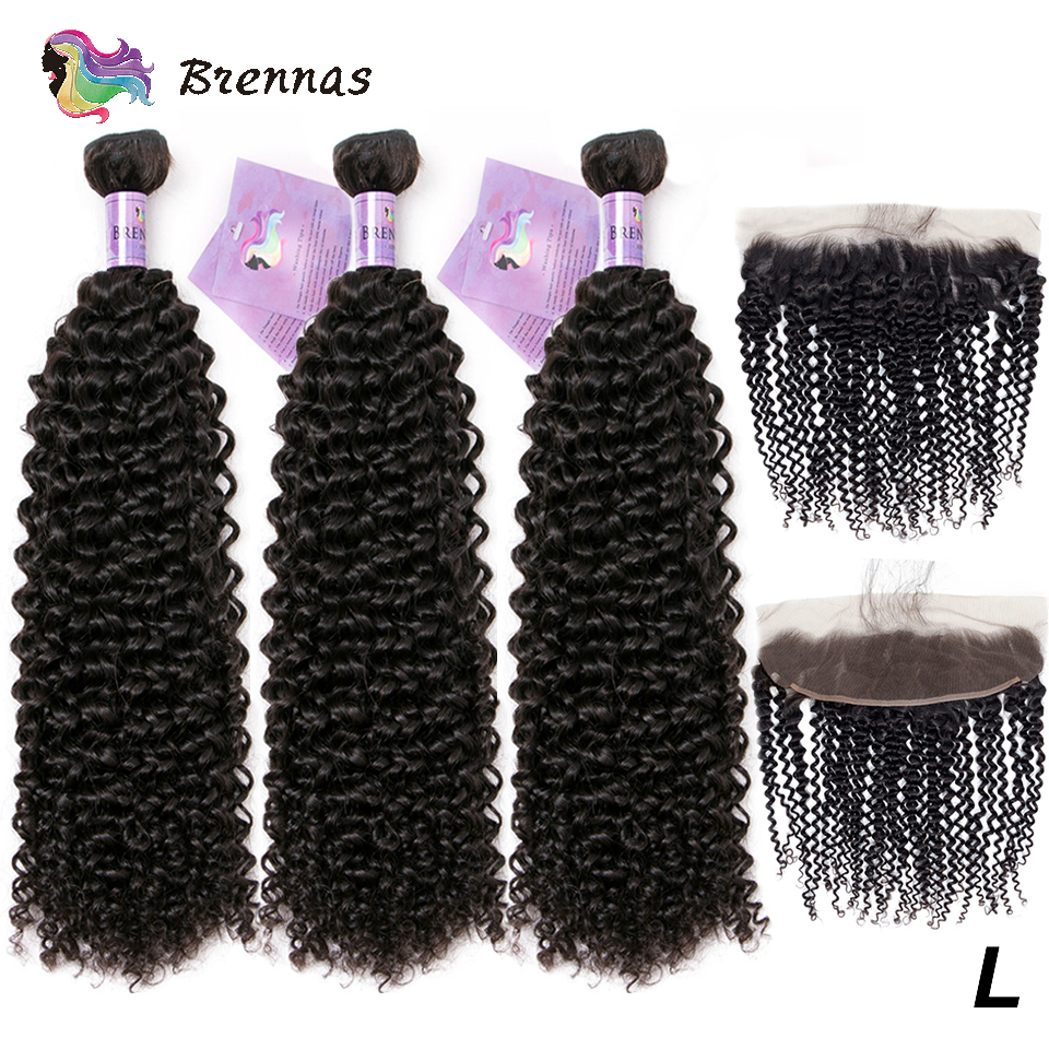 Kinky Curly Human Hair Bundles With Frontal Brazilian Hair Extension Bundles With 13*4 Lace Frontal Low Ratio For Women Non-Remy
