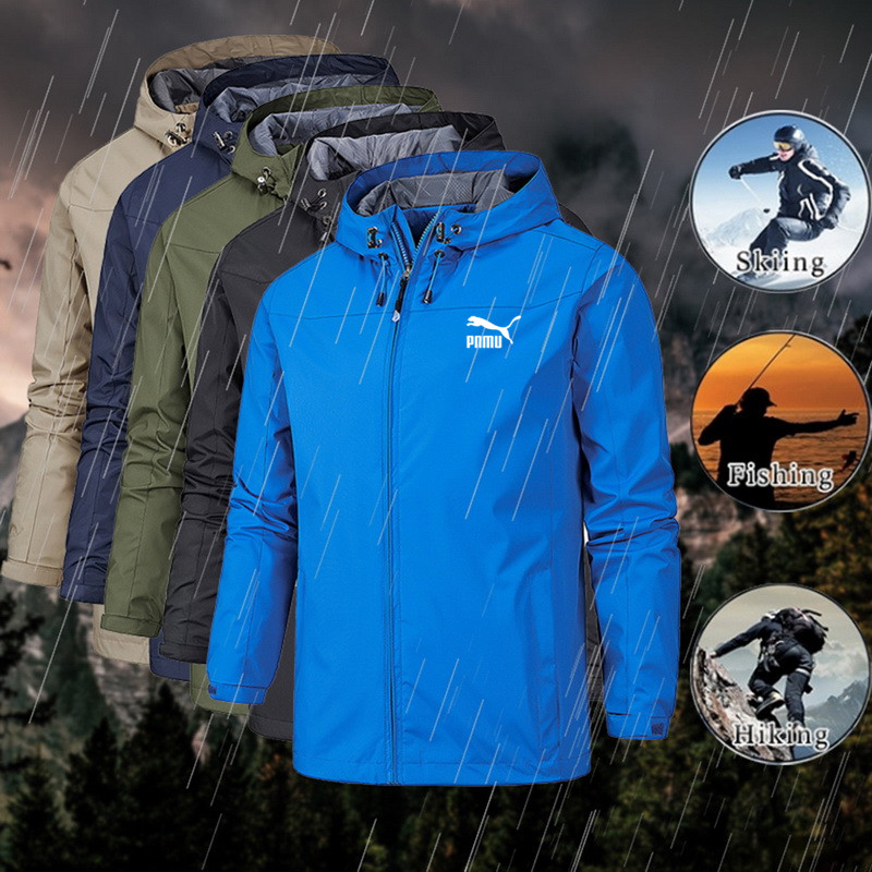 2020 new fashion men's jacket coat Hooded Coat long sleeve zipper coat wind proof and waterproof spring and autumn style 1
