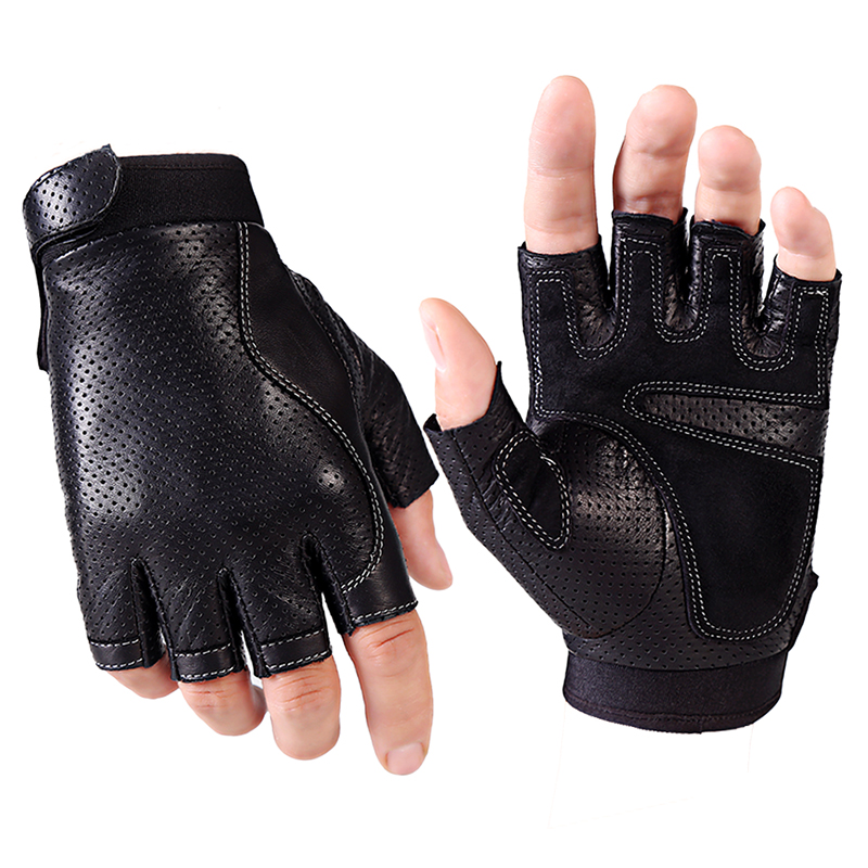 Spring Men Leather Driving Gloves Black Antiskid Fingerless Mittens Sheepskin Tactical Gloves Outdoor Fitness Dance Glove AGB648