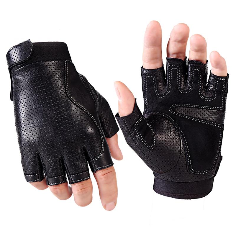 Spring Men Leather Driving Gloves Black Antiskid Fingerless Mittens Sheepskin Tactical Gloves Outdoor Fitness Dance Glove AGB648