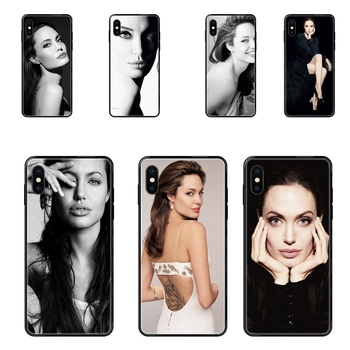 For Galaxy Note 4 8 9 10 20 Plus Pro J6 J7 J8 M30s M80s Ultra 2016 2017 2018 Angelina Jolie Exquisite Soldes Black Soft TPU image