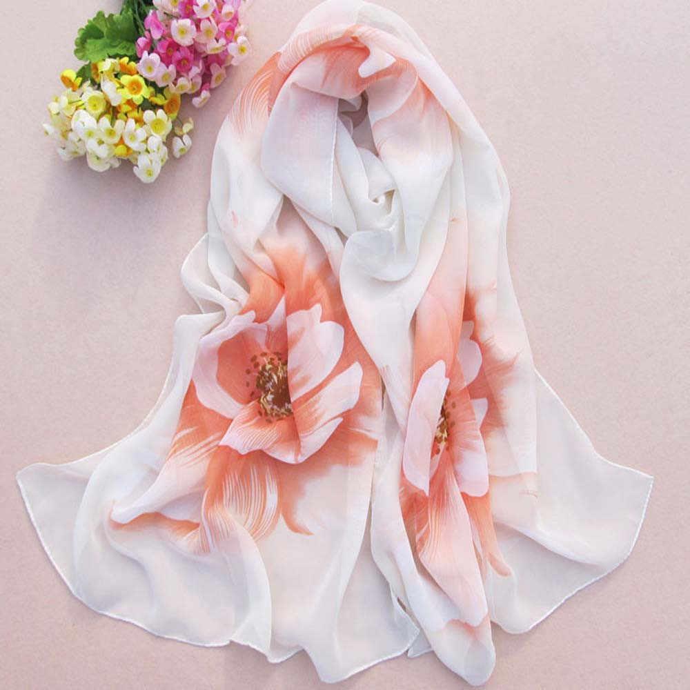 Femmes écharpe doux mince mousseline de soie foulard fleur imprimé écharpes châle foulard femme