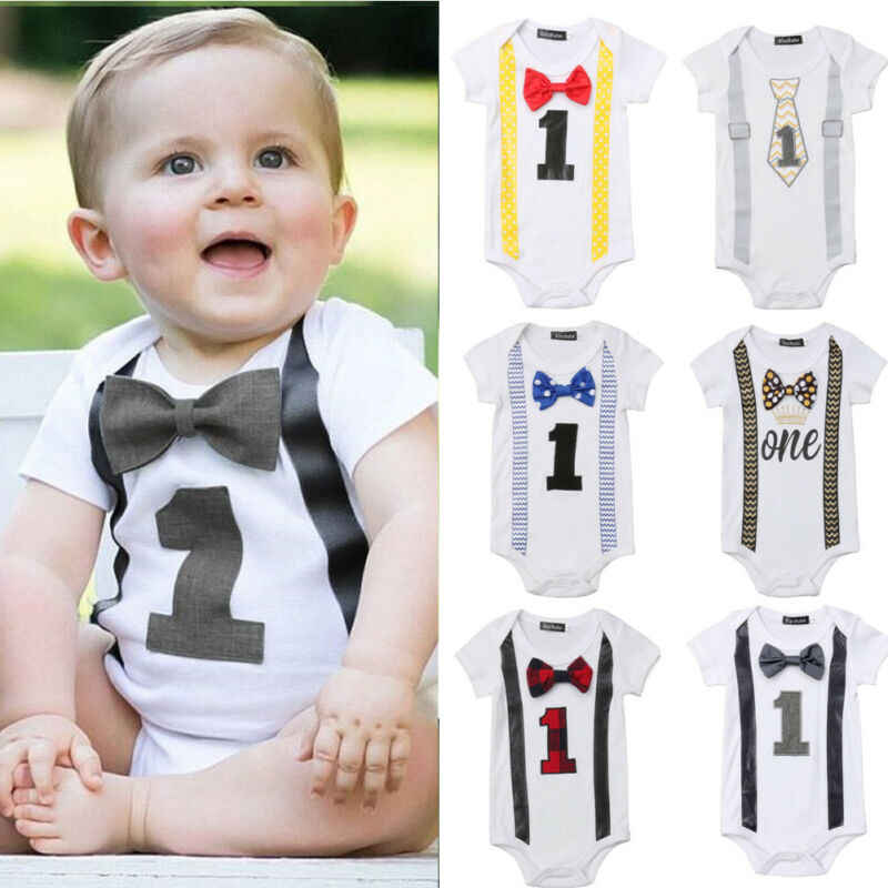 Baby Boy My First 1st Birthday Party Gentleman Bow Romper Jumpsuit Outfits #CU
