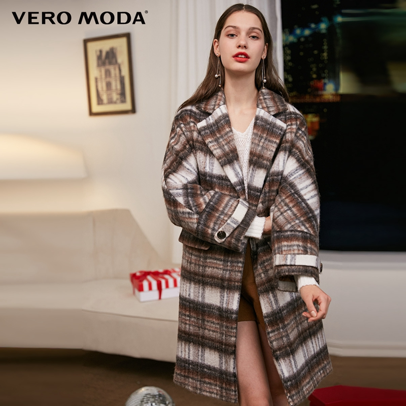 Vero Moda Women's New Plaid Long Woolen Coat | 318327507