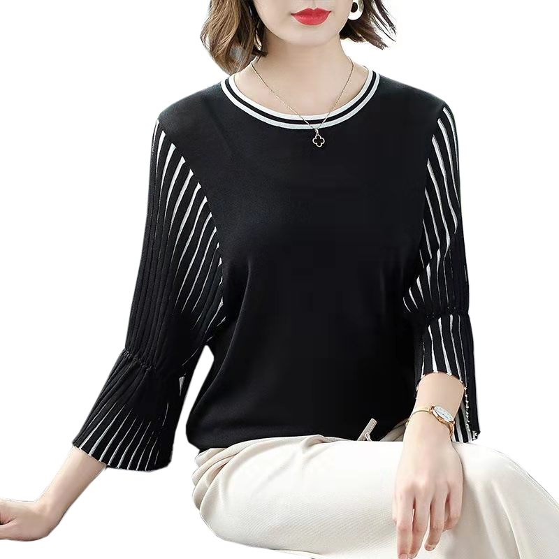 Spring Knit Top Women 2019 New Loose Casual Korean Pullover Thin Sweater Black Stripes Summer Fashion Knit Thin Sweater Women