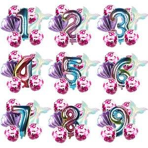 Воздушный шар русалки на день рождения, 8 шт., праздничные украшения: воздушные шары воздушных шаров, декор для детей 1, 2, 3, 4, 5, 6, 7, 8, 9 лет, прина...