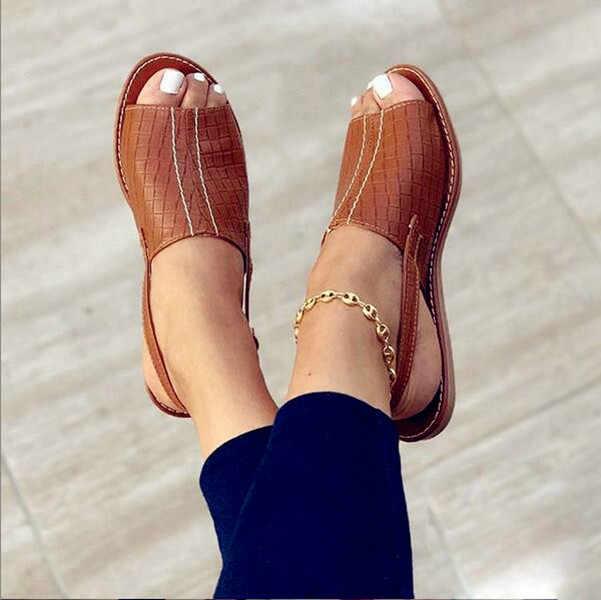 2020 baru Wanita Sandal Sepatu Wanita Sandal Kulit Asli Nyaman Platform Datar Tunggal Wanita Lembut Besar Toe Koreksi Kaki Sandal
