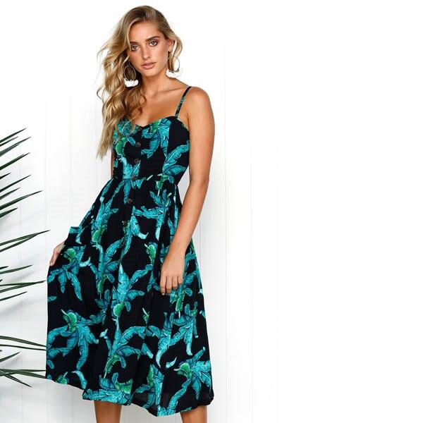 Boho Sexy Floral Dress Summer Vintage Casual Sundress Female Beach Dress Midi Button Backless Polka Dot Striped Women Dress2020  17