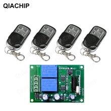 Receptor e transmissor de relé qiachip, receptor de relé rf sem fio universal dc 12v 2ch para porta de garagem 433mhz controlador