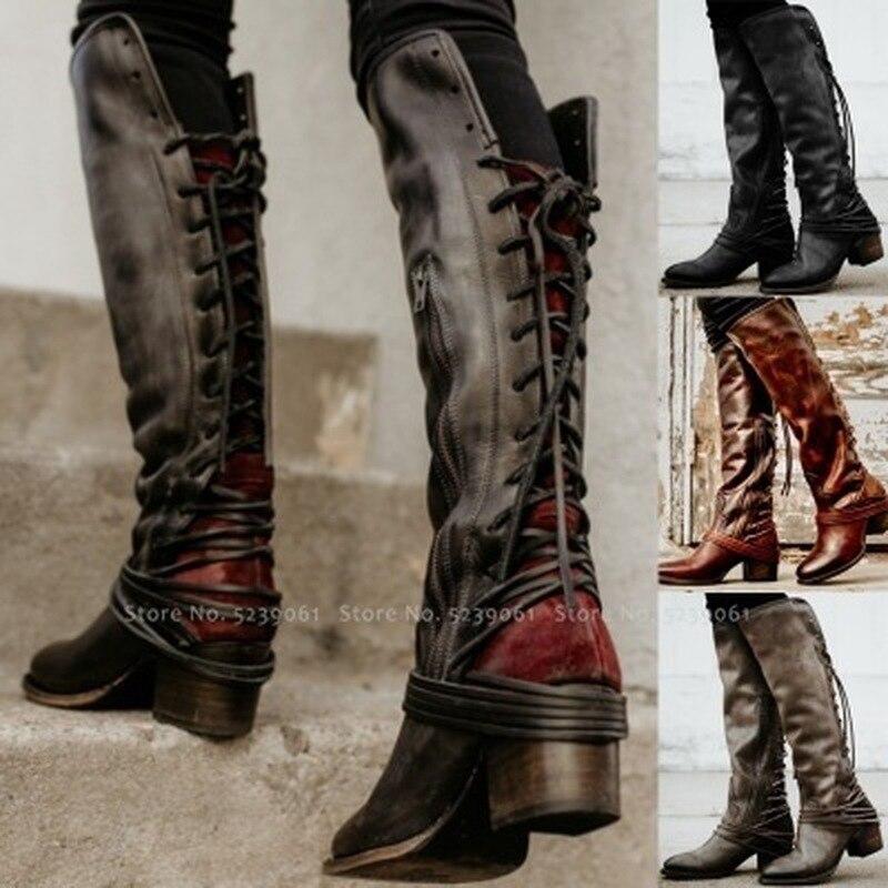 Hiver mode femmes Style britannique à lacets Tube Long botte hommes chevalier médiéval rétro chasseur carnaval Cosplay gothique chaussures en cuir