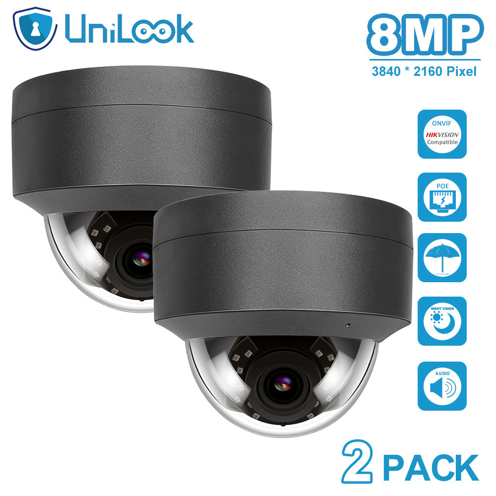 UniLook 4K 8MP Dome POE IP Camera Built in Microphone Hikvision Compatible CCTV Security Camera Night vision IP66 ONVIF H.265
