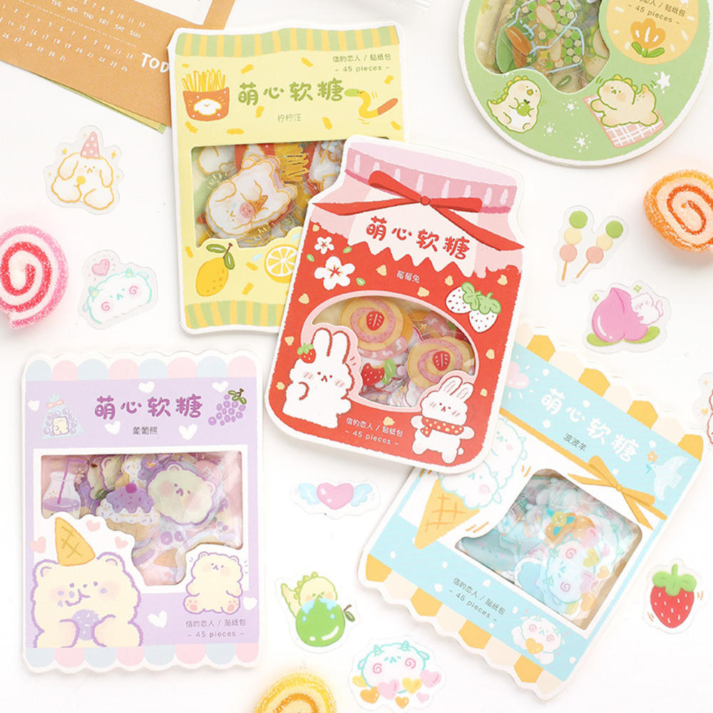 45 Pcs Pack Kawaii Candy Series Stickers Decorative Scrapbooking Stick Label Diary Stationery Album Cat Rabbit Animal Stickers Super Promo D9437 Cicig