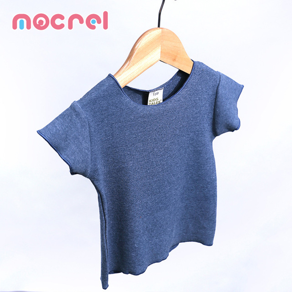 Children With Children's Short Sleeve T-Shirt Summer Boy And Girl Baby Candy Color Elastic Knitted Cotton Renders