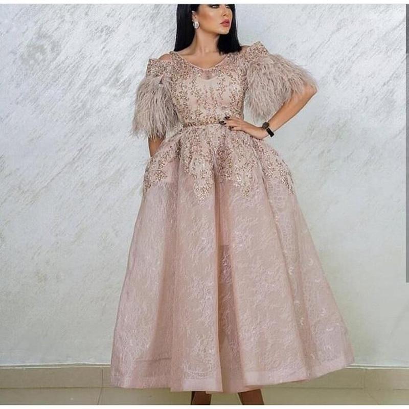 Elegant Muslim Evening Dresses Ball Gown Ankle Length Lace Beaded Dubai Saudi Arabic Long Evening Gown Prom