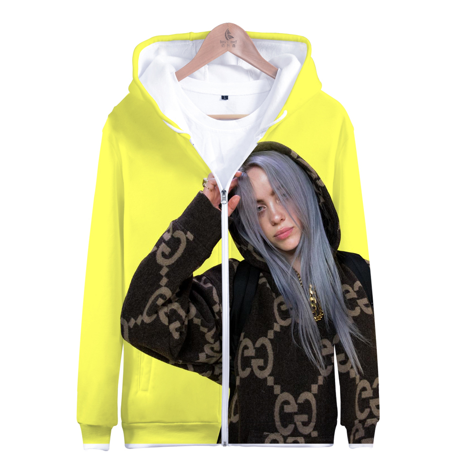 Billie Eilish Za 2019 Fashion Hoodie For Women Girl Kid Sweatshirt Hooded Jacket Zipper Coat Clothes Clothing