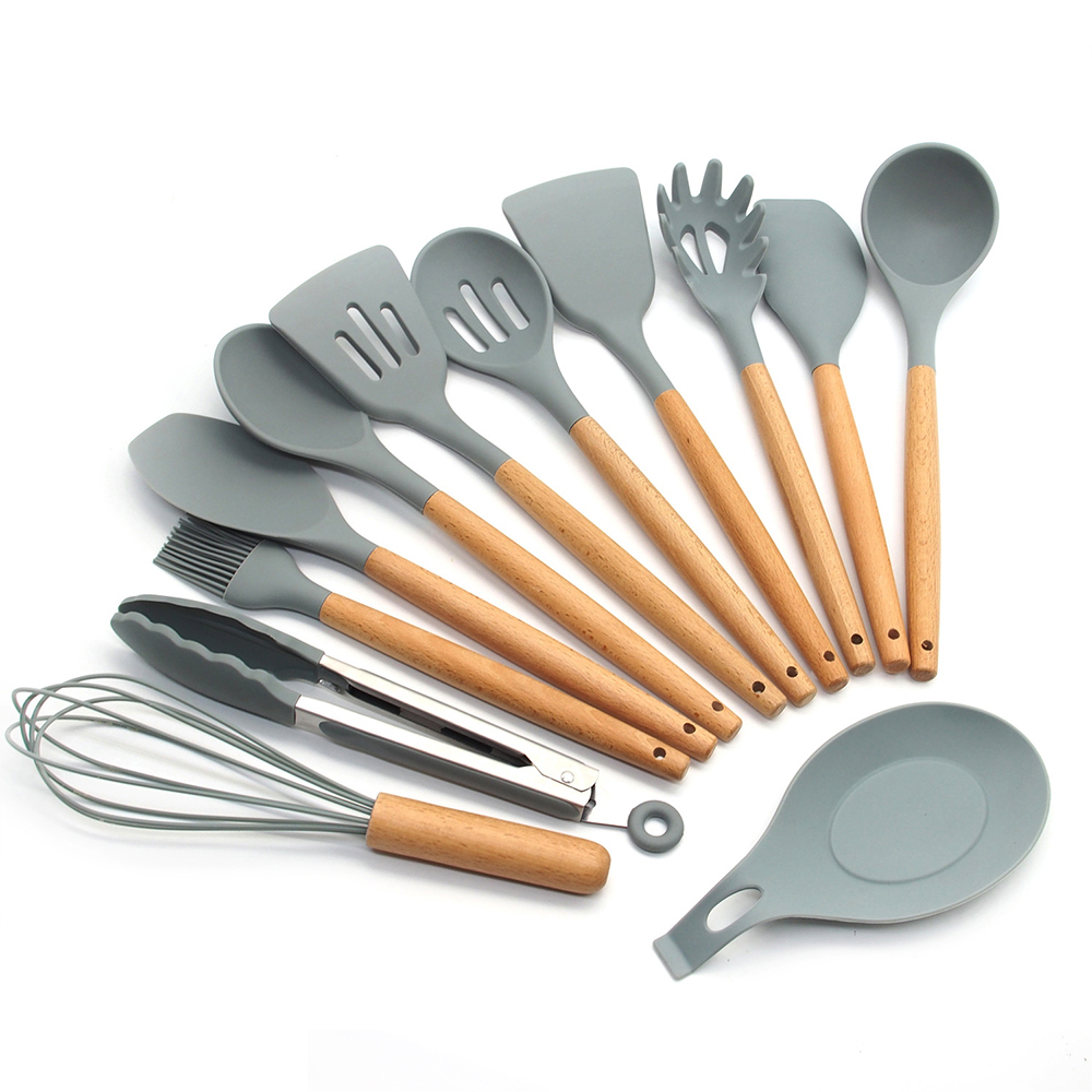 US $12.31 43% OFF|Leeseph Silicone Cooking Utensils Kitchen Utensil Set  Natural Wooden Handles Cooking Tools for Nonstick Cookware-in Cooking Tool  ...