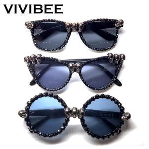 VIVIBEE Women Black Skull Rhinestone Halloween Sunglasses 2020 Trend Gorgeous Cat Eye Sun Glasses for Ladies Round Gothic Shades(China)