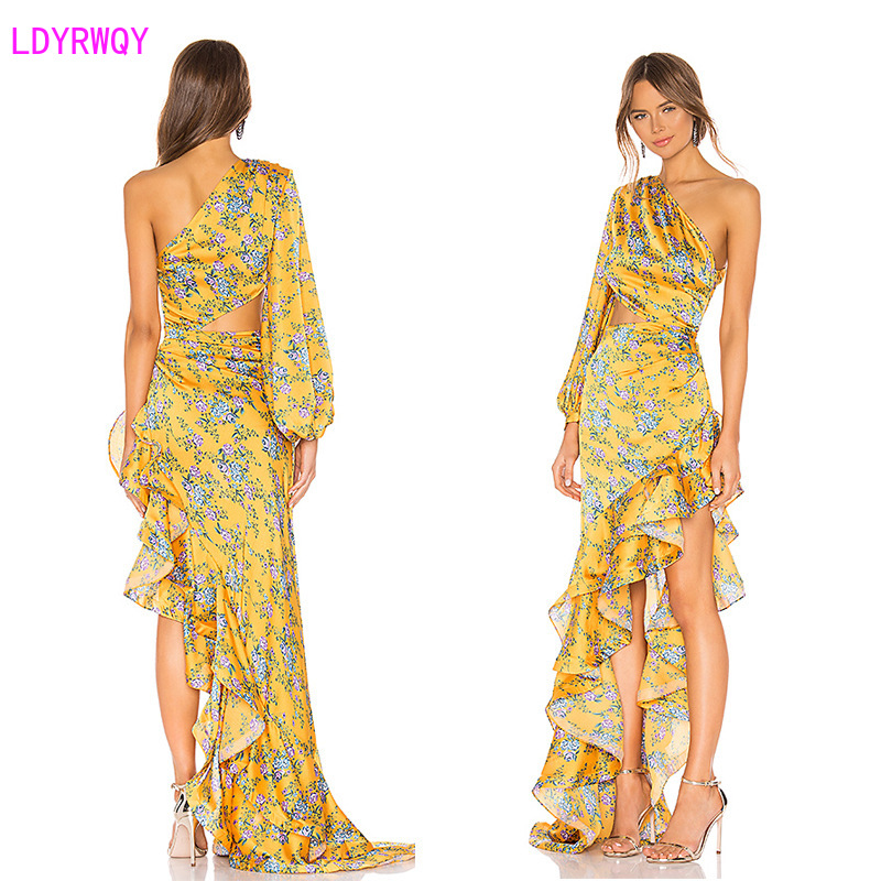 LDYRWQY spring new European and American women's printed sexy one-shoulder long sleeve stitching ruffle irregular dress