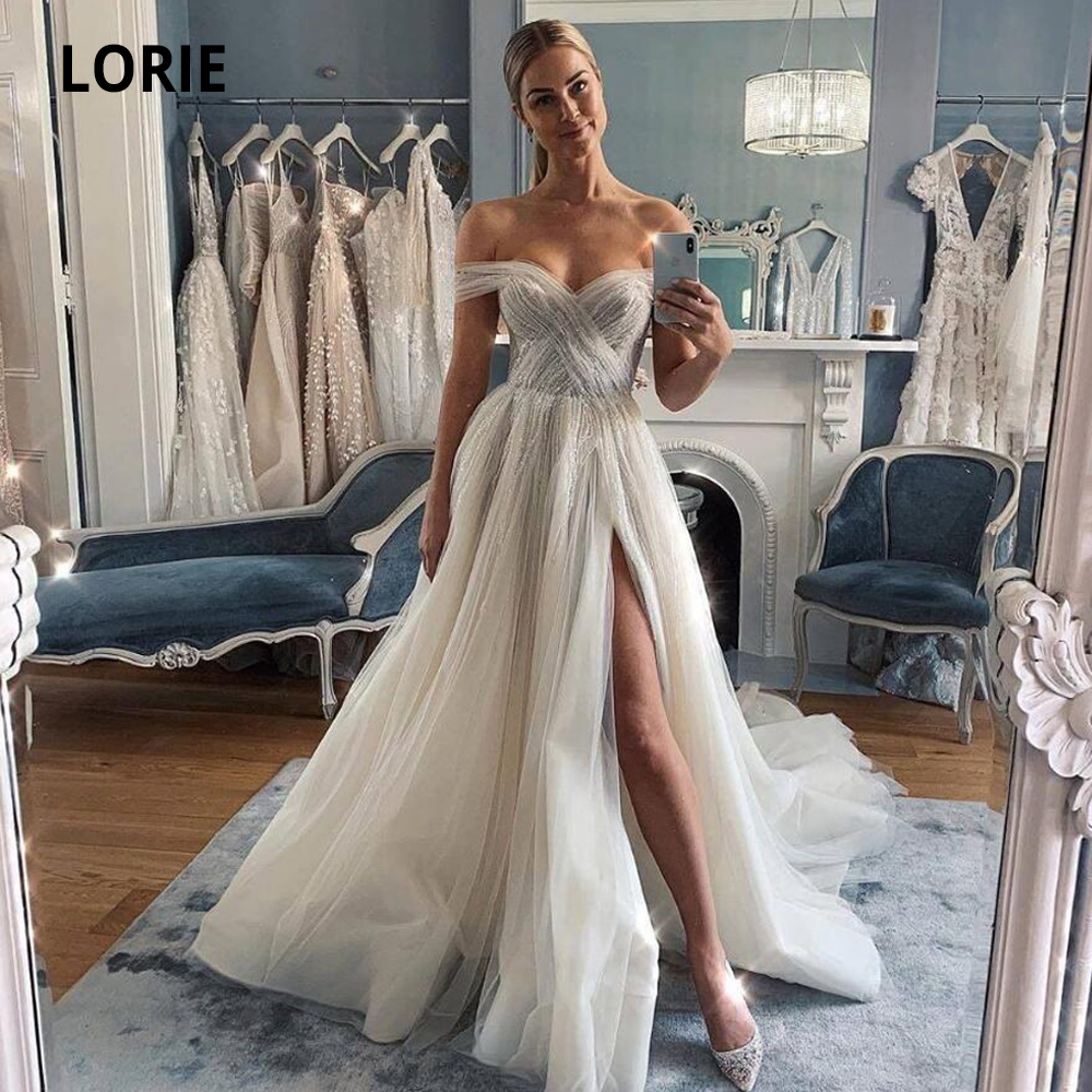 LORIE Off The Shoulder Tulle Wedding Dresses 2019 Sleeveless Open Back Beach Bridal Gowns Princess Boho Wedding Gown With Split