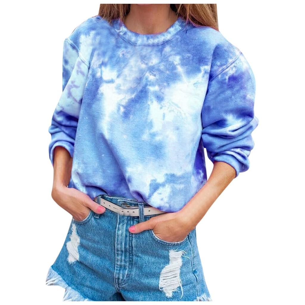 Jaycosin Fashion Women Simple Gradient Print Pocket Sweatshirt Stylish Long Sleeve Comfortable Soft Casual Blouse Top 927#3