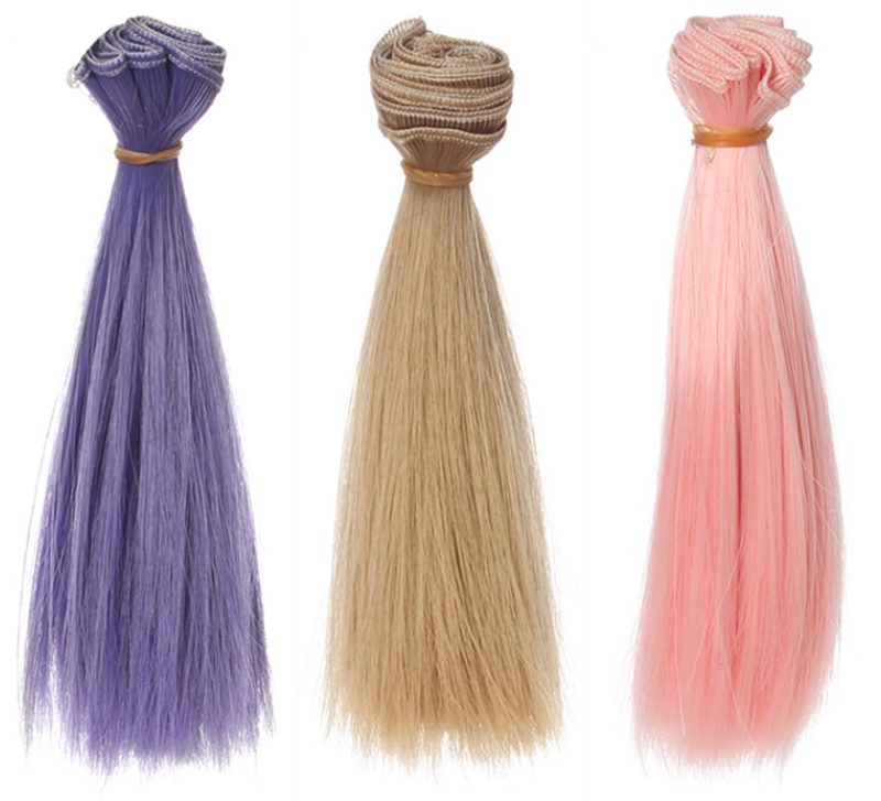 1 Pc 15*100cm Doll Accessories Straight Synthetic Fiber Wig Hair For Handmade Cloth High-temperature Wire Diy Texitle-0