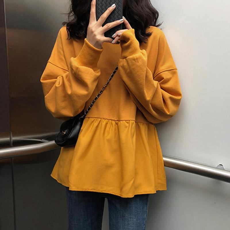 Women Camiseta Mujer Long Sleeve Solid Ruffled Hem Autumn Loose Fashion T-Shirt Sweatshirt Round Neck Casual Tops