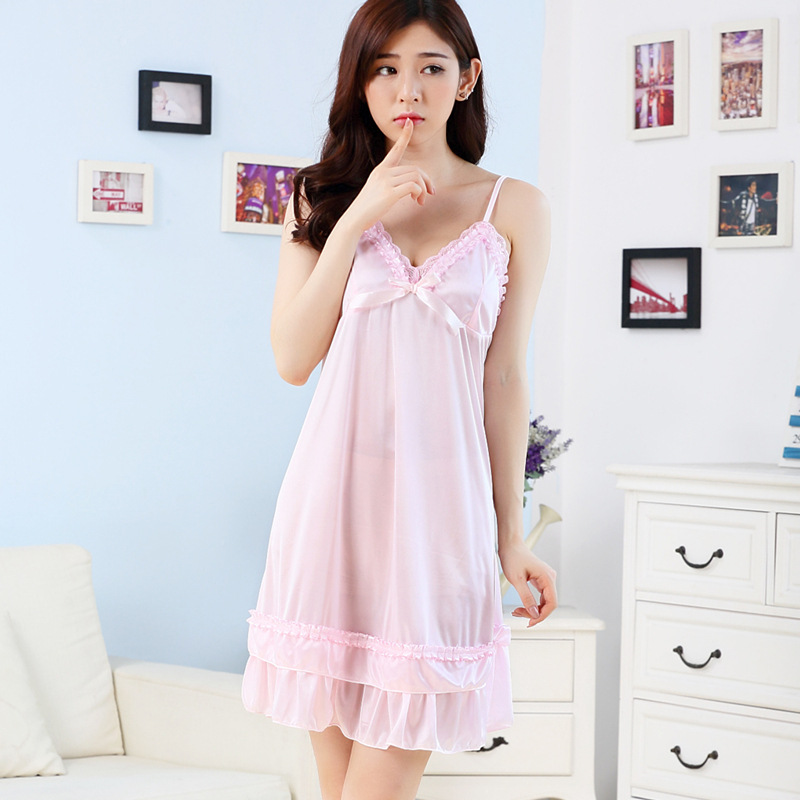 Summer Women's Silk Slip Nightdress Pajamas Sexy Lace Temptation Viscose Sexy Home Wear