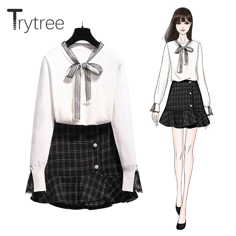 Trytree 2019 Autumn Winter Two Piece Set Casual V-neck Lace Bow Knitting White Top + Skirt Fashion Plaid Pearl Set 2 Piece Set