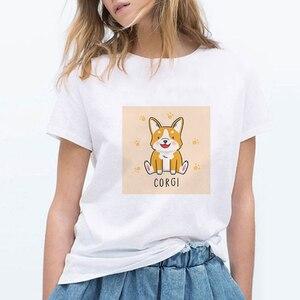 CORGI Letter Print Harajuku Cartoon Kawaii Short Sleeve T-shi Streetwear Vintage Oversize Plus Casual For Women tshirt t-shirt
