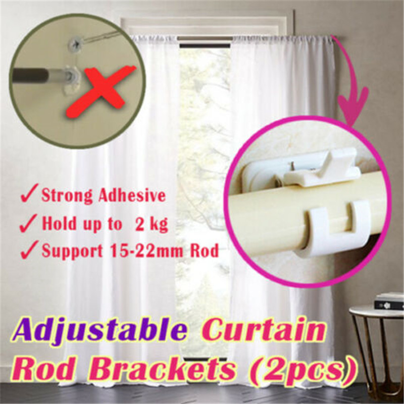 2pcs Hanging Rod Clip Adhesive Wall Curtain Hanging Rod Clamp Hooks Rack Clips