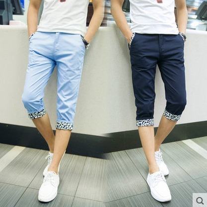 Summer New Style Capri Pants Men Slim Fit Fashion Teenager Students Fashion Casual 7 Points MEN'S Wear Breeches