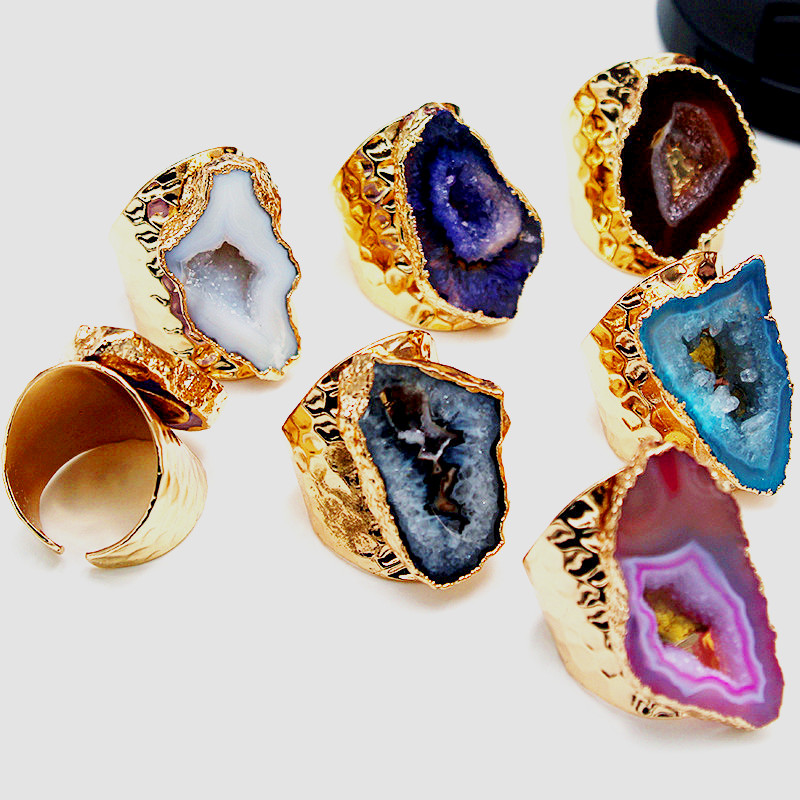 Gold Polished Crystal Semi Precious Stone Slice Hammered Ring for Unisex Fashion Luxury Adjustable Knuckles Ring Party Jewelry