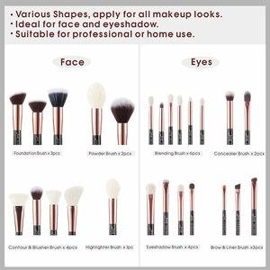 Image 4 - Jessup pincéis de maquiagem conjunto rosa ouro/preto fundação pó sombra compõem escova 6 pces 25 pces
