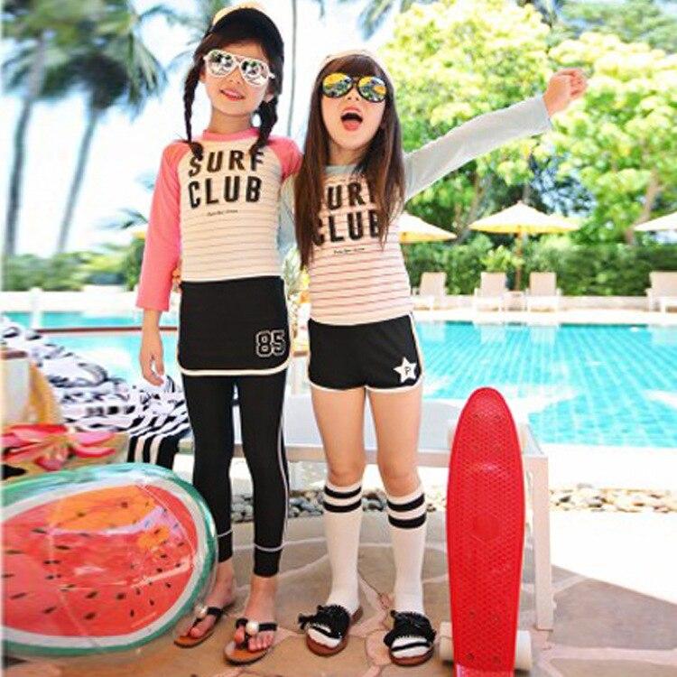 South Korea KID'S Swimwear Middle And Large Girls Sports Split Type Sun-resistant Long Sleeve Trousers GIRL'S Girls Swimwear Jel