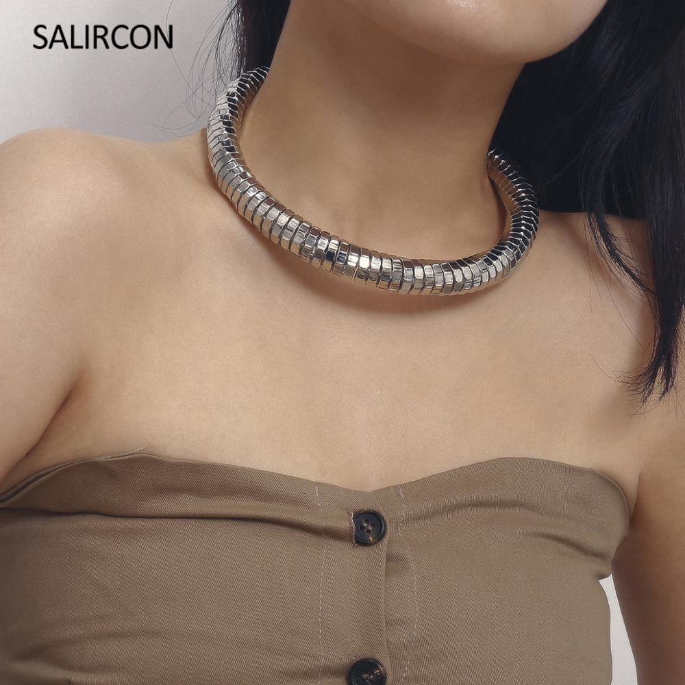 Salircon Punk Exaggerated Chunky Choker Necklace for Women Hip Hop <font><b>Short</b></font> Choker Collar Fashhion Statement Necklace Collier <font><b>Femme</b></font> image